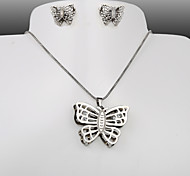 European and American fashion titanium steel silver Butterfly CZ Earrings Necklace Set