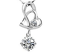 Heart Hypoallergenic Crystal Silver Pendant Necklace