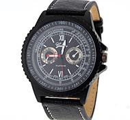 Men Fashion Design PU Band Quartz Watch Cool Watch Unique Watch