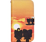 HZBYC®Sunset Cat Lovers Pattern PU Material Card Lanyard Case for iPhone 4/4S