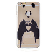 The Panda Black Ancient Ways Pattern Transparent Phone Case Back Cover Case for iPhone6/6S