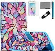 cocos fun® padrão pétala colorido estojo de couro pu com cabo usb v8, flim, caneta e stand para Samsung Galaxy S6 borda