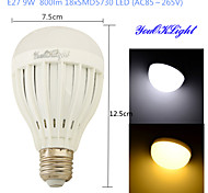 YouOKLight® 1PCS E27 9W 18*SMD5730 800LM White/ Warm White Light LED Energy saving High quality Globe Bulbs (AC85~265V)