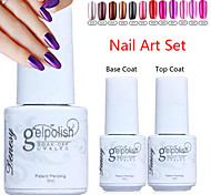 YeManNvYou®3pcs Metal Color UV Gel Polish No.13-24(5ml, 1PCS Nail Polish +1PCS Base Coat + 1PCS Top Coat)