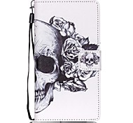 New Skull  Lanyard PU Leather Material Flip Card Cell Phone Case for Huawei P8 Lite