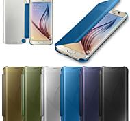 Для Кейс для  Samsung Galaxy Чехлы панели С функцией автовывода из режима сна Зеркальная поверхность Флип Чехол Кейс для Один цвет PC для