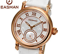 EASMAN White Genuine Leather Mother of Pearl Dial Best Ladies Watches Sapphier Waterproof Rose Gold Watches for Women