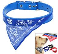 Cat / Dog Collar Waterproof / Adjustable/Retractable / Bandanas Blue PU Leather