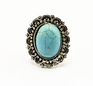 Vintage Look Antique Silver Plated Oval Flower Turquoise Stone Adjustable Free Size Ring(1PC)