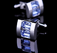 Fashion Men Jewelry Blue Crystal CZ Square Silver Delicate Button Cufflinks(1Pair)