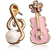 New Fashion Korea&Japan 18K Gold Plated Shape Violin and  Musical Note Stud Earrings For Women