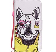 The New Glasses Dog Pattern Lanyard PU Leather Material Flip Card Cell Phone Case for iPhone 5 /5S