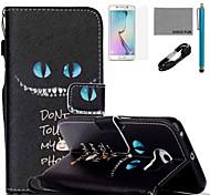 Coco fun® padrão azul olhos de gato estojo de couro pu com cabo usb v8, flim, caneta e stand para Samsung Galaxy S6 borda