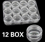 1Set 12pcs Grid Storage Box Nail Empty Box