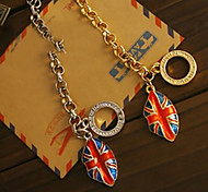 European Style  Enamel British Flag Mouth Charm Bracelet