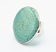 Vintage Look Copper Handmake Round Turquoise Stone Adjustable Free Size Ring(1PC)