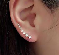 Rhinestone Alloy  Ear Cuffs Wedding Glamorous Women's Fashion Line Shiny Rhinestones Zircon Earrings  Jewelry Nice Gift  1pc