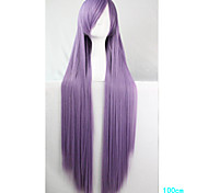 Anime Cosplay Wig Smoky Purple 100 CM Long Straight Hair High Temperature Wire