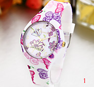 Woman's Watches Fashion Garden Style Silicone Watch
