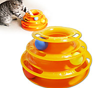 Three Layers Of Wheel Hardcover Cat Amusement Plate Of Cat Toys Pet Supplies (3 Balls)