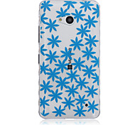 Blue Flower Pattern Transparent TPU Soft Case for Nokia 640