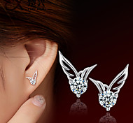 Fashion Womens Silver Plated Jewelry Angel Wings Crystal Ear Stud Earrings