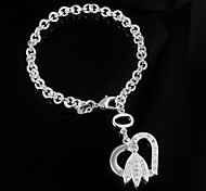 "Fashion Noble 925 Silver Sterling ""Heart"" Chain & Link Bracelets For Woman&Lady"