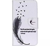 Black Feathers Painted PU Phone Case for Wiko Lenny 2