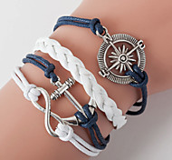 Multilayer Anchor & 8 Weave Bracelet,White+Blue