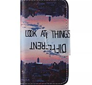 City Sunset Painted PU Phone Case for iphone4/4S
