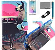 Coco fun® antílope padrão ônibus padrão pu estojo de couro v8 usb cabo, flim, caneta e stand para Samsung Galaxy S6 borda