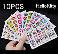 10x12PCS Hello Kitty Full Nail Stickers Mixed with Viscosity 9x6CM