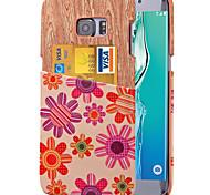 karzea ™ modèle de fleur rose en cuir PU cas de couverture arrière avec porte-cartes pour Samsung Galaxy S6 / S6 bord / bord S6 Plus