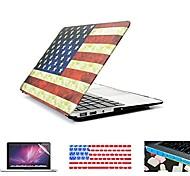"""4 em 1 bandeira retro completa cobertura de plástico rígido + tampa do teclado + protetor de tela + plugue poeira para MacBook Pro 13 """"/"""