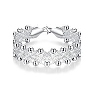 Generous Fashion Women's  Knitted Two-Bank Beads Silver Plated Brass Strand Bracelet(Silver)(1Pc)