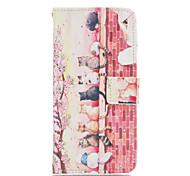 cat familie patroon pu lederen full body case met kaartsleuven en staan Case voor Samsung Galaxy a5 / a7