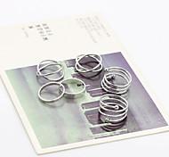 Circle V Shape Adjustable Ring Set Midi Rings(6pcs)