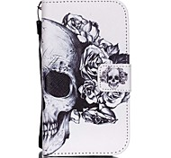 The New Skull Lanyard PU Leather Material Flip Card Cell Phone Case for Samsung Galaxy G530/G360