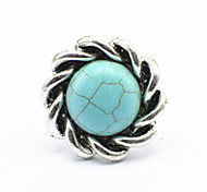 Vintage Look Antique Silver Plated Round Flower Turquoise Stone Adjustable Free Size Ring(1PC)