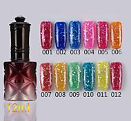 1pcs lentejuelas uv esmalte de uñas de gel de color no.1-12 remojo-off (12 ml, colores surtidos)