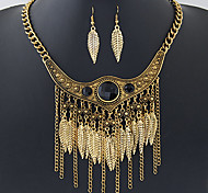 European Style Fashion Metal Gem Tassel Exaggerated Leaves Necklace Earrings Set