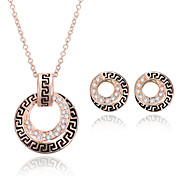 Women Wedding Party Retro Pattern Ethnic Wind Double Round Rose Gold Clavicle Chain Necklace Earrings Two-piece