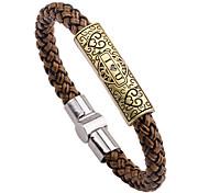 Men's 15mm Cow Leather Brown I LOVE YOU Titanium Steel  Magnet Buckle Snake Weave Bracelet
