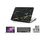 "4 in 1  Cool Black Marble  Cover Case+ Keyboard Cover+ Screen Protector + Dust Plug for Macbook Pro/13""/15"""