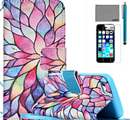 LEXY® Colorful Petal Pattern PU Full Body Leather Case with Screen Protector and Stylus for iPhone 5C
