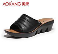 Aokang Women's Patent Leather Wedge Heel Slippers