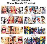 12sheets/pack Sexy Beauty Marilyn Monroe Cartoon Hero Design Water Transfer Nail Stickers Decals Decoration