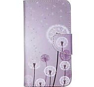 Purple Dandelion Painted PU Phone Case for Wiko Lenny 2