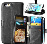 pu Funda de cuero Flip cubierta 9 titulares de la tarjeta monedero de lujo para el iphone 6 / 6s (colores surtidos)