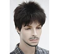 Stylish Synthetic Black Brown Short Full Bang Short Shaggy Natural Wavy Capless Men's Wig